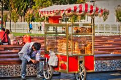 Simiti seller cart near Sultan Ahmed Mosque, Istanbul, Turkey (CamelKW) Tags: turkey2016 simiti seller cart sultanahmedmosque istanbul turkey