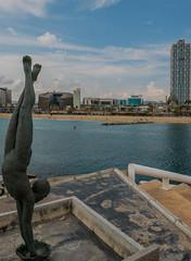 Statue - Sculpture ( entrance to the Marina - Port Olympic - Barcelona - Spain (2) ( Panasonic Lumix DMC-LX100 Compact) (1 of 1) (markdbaynham) Tags: barcelona spain spainish espana espanol port olympic seafront view skyline catalan urban metropolis panasonic lumix lumixer dmc dmclx100 lx100 compact 2475mm f1728