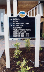 Exterior Wayfinding Carved Directional Post & Panel Sign