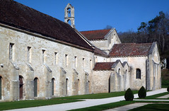 Dormatory Above Left, Chapter House Below Left, Church Apse Right, Abbaye de Fontenay