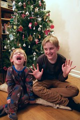 boys will be boys ... (slightly everything) Tags: christmas xmas uk family decorations light england tree home boys beautiful childhood kids laughing children one glasses holidays europe young blond connection jazzhands realpeople iphpne ©katehiscock