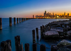 civil to nautical twilight at Fullerton (olsonj) Tags: city sunset lake chicago beach skyline night illinois twilight lakemichigan fullerton fullertonbeach
