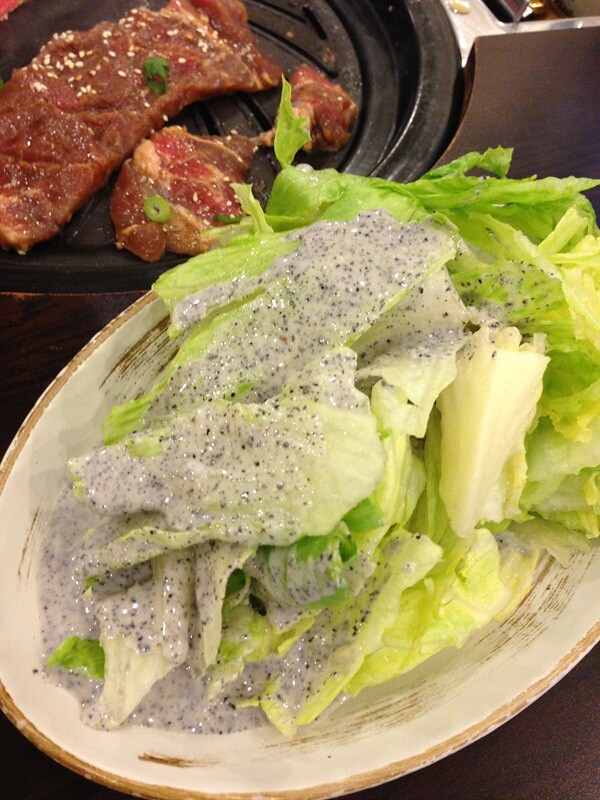 Lettuce with black sesame dressing