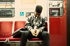 Raiders. (Daifuku Sensei) Tags: leather hair subway person cool nap candid ttc jacket fro raiders cassettetape fujifinepixx100