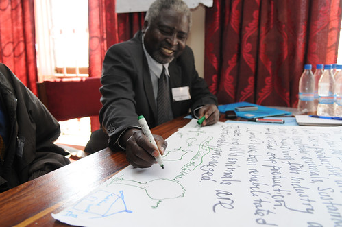 Participants map out their vision of success at the AAS Barotse Hub Roll-Out workshop. Photo by Georgina Smith, 2012.