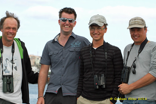 Dutch Birders on 2011 Atlantic Odyssey, from left to right: Hein Verkade,   Menno van Duija,  Garry Bakker,   Rinse van Vllet,