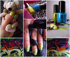 Leopard Zebra nails (Nefeli.Jeevas) Tags: blue green mouse graffiti stripes nail polish nails leopard zebra nailpolish greenandblue colourfull