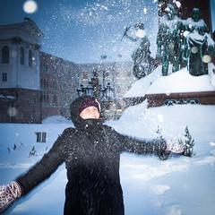 snow! (miemo) Tags: winter woman snow statue finland fun person helsinki europe joy olympus snowing blizzard omd senaatintori senatesquare em5 modelreleased