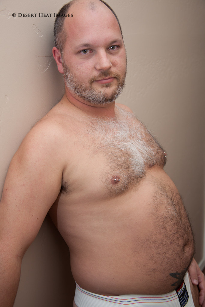 Chubby man shower