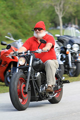 Is that Santa? (taddzilla) Tags: park santa charity red sun hat sunrise toys all ride florida run riding rights disguise motorcycle biker claus reserved markham 2012