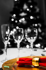 Christmas Dinner (pablofalv) Tags: christmas red white house black tree home glass dinner 35mm out table navidad nikon december bokeh cut interior decoration cups ornaments cena diciembre 2012 selective christmasdinner desaturate