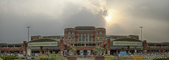 Lahore Airport Pano (GoCiP) Tags: pakistan sunset summer panorama orange sun building architecture clouds project photography daylight airport nikon day cloudy streetphotography photojournalism sunrays lahore sunnyday summerday cloudyday 2485mm lahoreairport gocinematic airportproject d7000 nikond7000 gocip zeeshangondal