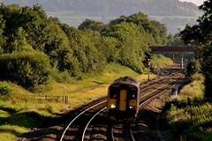 FGW Sprinter DMU 150232 at Haresfield (KPAR Media UK) Tags: uk bridge trees england rural speed train canon landscape countryside colours diesel action rail railway gloucestershire 7d dmu fgw class150 haresfield 150232