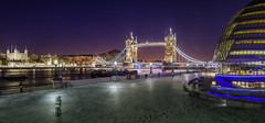 London - Contrasting Architecture (John & Tina Reid) Tags: greatbritain winter sunset london architecture unitedkingdom panoramic theriverthames twlight londontowerbridge londontower londoncityhall jonreid londonattractions architecturalcontrast tinareid nomadicvisioncom