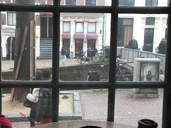 View from the Stoof bar in the Red Light District Amsterdam. (boloveselvis) Tags: from street windows light red holland netherlands amsterdam bar europe view nederlands jordaan hookers