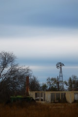 old house, windmill and tractor (bigmikesbeer) Tags: above old blue winter house tractor windmill grass john skies texas cattle cows farm deer land deere uvalde knippa