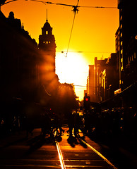 Flinders street (Nuxis [Davide]) Tags: city sunset people sony tram australia melbourne victoria flindersstreet a77 flindersstation alpha77