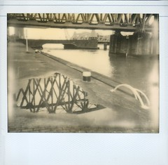 Rotterdam: Under the Bridge (SuperErnie) Tags: polaroid rotterdam polaroidspectra spectra impossible dehef hefbrug theimpossibleproject pz600silvershade