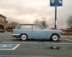 Herald Blue (misterbigidea) Tags: auto street city blue england sky urban cute classic sports beauty car vintage shopping landscape estate view ride cloudy dusk parking style center rainy hotwheels triumph 1200 british parked stockton sleek herald sporty stylish 1963 2door