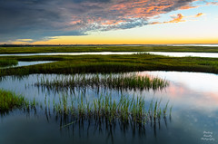 Bass Hole sunset (Stealing-Beauty Photography) Tags: usa storm reflection nature clouds ma still pond flickr capecod calm estuary grasses marsh yarmouth habitat basshole