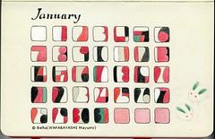 2013_01_Calendar_s (blue_belta) Tags: red art moleskine sketch calendar drawing january 雪 coloredpencil 色鉛筆 1月 カレンダー スケッチ モレスキン 雪うさぎ