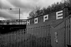 2013 32 (Nigel Bewley) Tags: street city uk england sky urban blackandwhite london overgrown clouds hope graffiti railway gritty 365 february everyday kingscross islington stpancras railwaybridge londonstreets artphotography yearinpictures yorkway unlimitedphotos canon5dmkii 2013yip february2013