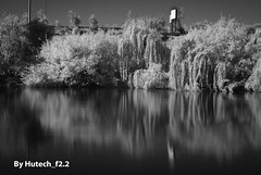 Infrared below the Freeway (Hutech_f2.2 (I'm staying too!)) Tags: bw signs river landscape australia freeway infrared hume willows wodonga