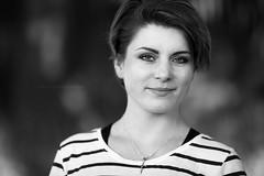 Kasia (mmoskala) Tags: canon 135l 135mm bw blackandwhite monochrome headshot portrait woman smile liverpool 5dmkiii naturallight