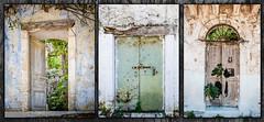 Assos Doors Triptych (Rupert Brun) Tags: greece greek island ionian kefalonia assos door doors triptych 3 three texture textures portal ruin ruined ruins