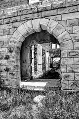 Stone Arch (Scott Sanford) Tags: texas texashistory historic blackandwhite bw monochrome stone stonework architecture buildings sunlight shadow lightandshadow abandoned forgotten decay ghosttown structure travel trip vacation summer canon eos ef2470mmf28lusm 6d topazlabs