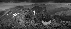 West from the Pic du Taillon Summit - French Pyrenees (sunstormphotography.com) Tags: gavarnie picdutaillon picdesgabietous france frenchpyrenees pyrenees summit panoramic blackandwhite landscape canon24105l canon5dmark3 ndgradfilter mountains