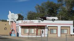 DeSoto's Salon (1 of 2) (jimsawthat) Tags: vintageautomobile metalsign arrow vintagesign repurposedsign barbershop smalltown arizona ashfork route66 hairsalon