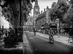 Cycle Path (michael.knight65) Tags: blackandwhite streetphotography photooftheday digital outdoor people mono monochrome city town street black white man woman young old olympus omdem5ii mobile legs bus london portrait character urban scene european contrast expressive photography candid streetportraiture england travel travelling couple smartphone faces face realpeople reallife big ben cycle