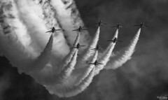 Inverted Arrows (wiganworryer) Tags: wiganworryer action photography canon optical southport air show beach merseyside north west airshow aviation craft aircraft plane flying red arrows display team raf aerobatics stunt keith gibson fly past flypast blue sky summer weather hawk outdoor diagonal 400mm f56 l series fixed prime lens vapour trail trails mono black white blackandwhite bw monochrome photos