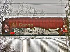 Graffiti Freight Train (Akbar Sim) Tags: snow streetart holland netherlands train graffiti sneeuw nederland denhaag db cargo thehague trein freighttrain paintedtrain goederentrein akbarsimonse akbarsim