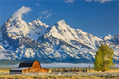 John Moulton Barn - Grand Teton N.P - Wyoming (~ Floydian ~) Tags: wood morning usa cloud mist mountain snow mountains building tree ice fog clouds barn canon wow landscape landscapes wooden nationalpark mood view unitedstates wide structures atmosphere structure historic valley settlers homestead wyoming teton tetons picturesque grandteton meijer henk settlement mormons moulton farmstead complexes antelopeflats farmsteads floydian canoneos1dsmarkiii mormonrowbarn andychambers johnmoulton henkmeijer tamoulton's