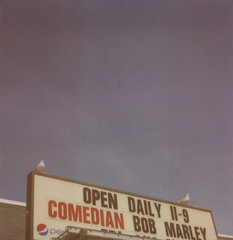 COMEDIAN BOB MARLEY (abdukted1456) Tags: sea summer seagulls slr me birds sign polaroid se gull maine 600 integral comedian scarborough pepsi slr680 680 expiredfilm landcamera clambake instantfilm opendaily 680se