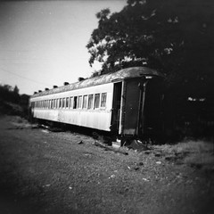 passenger car (QsySue) Tags: railroad blackandwhite train mediumformat toycamera traintracks 120film train
