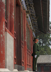 Guard Standing In Front Of Forbidden City, Beijing, China (Eric Lafforgue) Tags: china city travel people color colour history monument vertical horizontal architecture composition standing outside person photography gate uniform asia day image outdoor authority guard beijing police bluesky nobody unesco communism forbiddencity tiananmensquare majestic oneperson buildingfront worldheritage onepeople eastasia policeofficer pekin capitalcity realpeople militaryuniform colorimage diminishingperspective famousplace honourguard buildingfeature northeastchina buildingexterior colorpicture chinesescript internationallandmark lowangleview adultonly 1people imagetype hebeiprovince beijingprovince builtstructure traditionallychinese mg06502