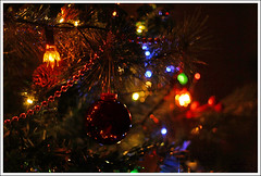 Baubles II (majestiele) Tags: christmas winter reflection tree lights beads bokeh shaped led tinsel bulbs baubles