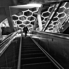 Escape into a Web of Light (CVerwaal) Tags: nyc newyork stairs canon subway lights mta broadwaylafayette bleeckerstreet canons100