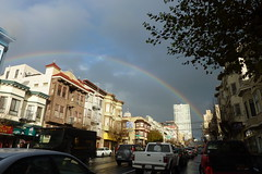 CITY RAINBOW (Lulu Vision) Tags: sanfrancisco street city sky urban cars buildings rainbow californiastreet aftertherain nobhill sfist