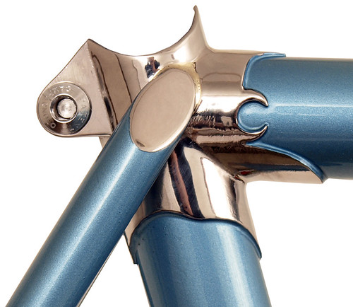 <p>Waterford 22-Series Artisan frame with Richard Sachs' Newvex seat cluster and flat cap seatstays painted English Blue metallic.  64347</p>