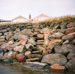 the beauty in memory (after october) Tags: film beach oregon mediumformat coast gate rocks path stones steps shore pacificnorthwest beachhouse neskowin fujisuperia400 hasselblad500cm