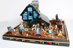 Tigelfh Blacksmith (peggyjdb) Tags: chimney horse town lego medieval arrows knight blacksmith cart horseshoes pans candlesticks