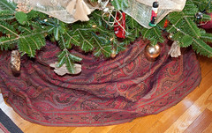 Antique paisley shawl being used as a Christmas tree skirt (kizilod2) Tags: christmastree