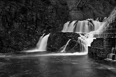 Soft Power - in explore (SunnyDazzled) Tags: park longexposure morning bridge bw newyork nature water stone river landscape waterfall scenery soft dam masonry engineering cliffs gorge croton flowing spillway