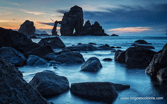 La catedral de San Juan de Gaztelugatxe (Iigo Escalante) Tags: blue sunset sea sky espaa costa sun black sol water azul stone clouds de landscape atardecer coast mar spain agua san rocks cathedral juan negro silk catedral paisaje national shore cielo nubes reflejo planet conde lonely fotografia bizkaia seda vasco euskadi geographic vizcaya rocas pais norte nast piedras traveler cantabrico gaztelugatxe cantabric iigoescalante