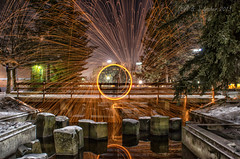Sparks At the Park (SimplyAmy74) Tags: reflections fun spokane spinning sparks coldweather riverfrontpark spokaneriver steelwool