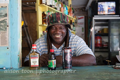 Jamaica-TimeNPlace-6177 (alison.toon) Tags: sea copyright man beach water beautiful hat smiling dreadlocks happy photographer secret tony hidden jamaica dreads jamaican falmouth tranquil trelawny turquose timenplace alisontoon